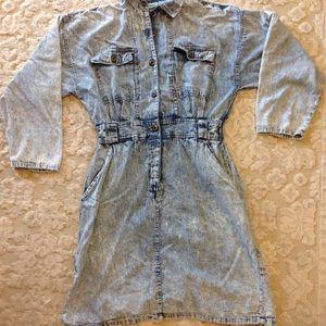 Vintage 100% cotton jean shirt dress